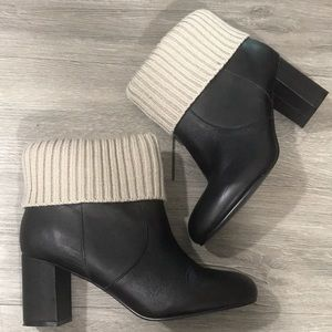 Torrid Knit Top Black Leather Heeled Ankle Boots